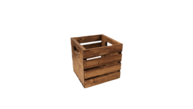 """Image of a Crate - Wood Slat with Cut Out Handle, Stained - 9.5"""" H x 9.5"""" L x 9.5"""" W"""