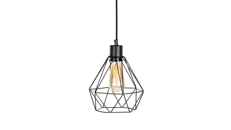 """Picture of a Lighting - Hanging Geometric Cage Lamp (Deco), Black - LG 10.5"""" H x 9"""" dia."""