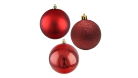 "Image of a Christmas - Bauble, Gloss | Matte | Glitter Collection (50 pcs.), Red - 2"" dia."