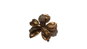 "Image of a Christmas - Magnolia Bloom Clip-On Ornament (12 pcs.), Black | Bronze - 6"" dia."