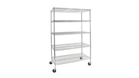 "Image of a Furniture Bar Back - Metal Rolling Shelf, Silver -77"" H x 48"" W"
