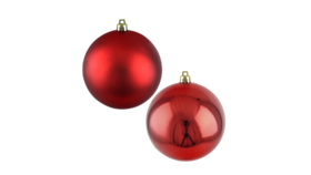 "Image of a Christmas - Bauble, Gloss | Matte Collection (50 pcs.), Red - 2.5"" dia."