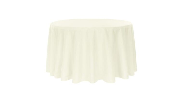 """Picture of a Banquet Round 48"""" Tablecloth - Ivory - Polyester 108"""" Round"""