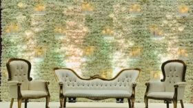 Image of a 4' x 9'  Floral Wall w/Shelves (White)