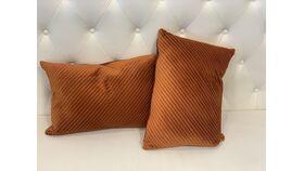 Image of a *Burnt Orange Velvet Pillow Set