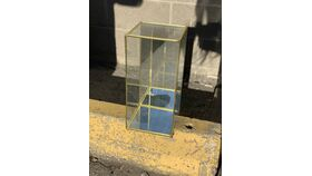 Image of a *Gold Mirror Geometric Box w/ Door