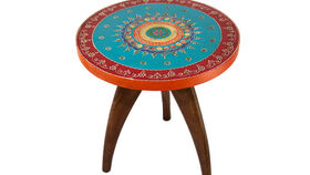 Image of a Floral Round Side Table
