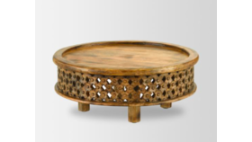 Image of a Carved Mango Wood Coffee Table
