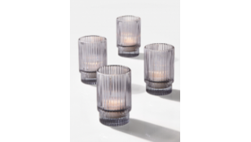 Image of a 3 3/4in Smoke Pleated Glass Votive Holder