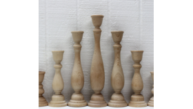 """Image of a 9"""" Wooden Candlestick"""