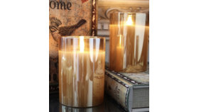 "Image of a 5"" Champagne LED Pillared Candle"