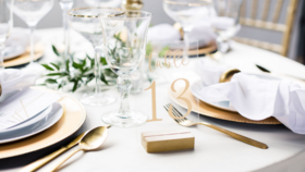Image of a Small Gold Wood Base - Table Numbers