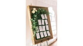 Image of a Framed Boxwood Seating Assignment Display #1