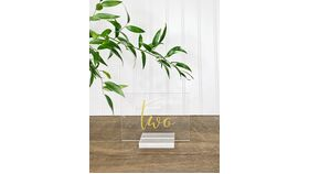 Image of a Acrylic w/ Gold Words Table Numbers