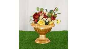 "Image of a 10"" Gold Roman Pedestal Column Flower Plant Stand"