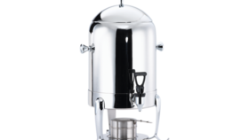 Image of a 44- Cup Octave Polished Stainless Steel Urn- uses gel fuel