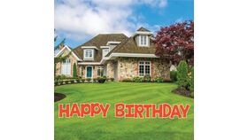 Image of a Yard Sign - Happy Birthday - 13 letters plus stakes