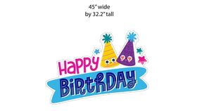 "Image of a Yard Sign - ""Happy Birthday ""Sign - Hats- 1 piece- 45"" wide by 32.2 "" high"