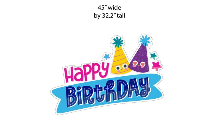 """Picture of a Yard Sign - """"Happy Birthday """"Sign - Hats- 1 piece- 45"""" wide by 32.2 """" high"""
