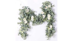 Image of a Artificial Eucalyptus Garland with Champagne Roses Greenery Garland