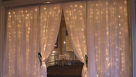 Image of a CLEAR SHEER FABRIC WITH CASCADING LIGHTS