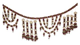 Image of a FLORAL GARLAND - MULTI STRING RIBBON FLOWER GARLAND WITH BELLS